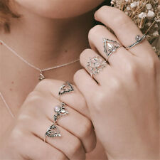 6PCS Set Urban Silver Lotus Flower Stack Above Knuckle Band Midi Rings Jewelry