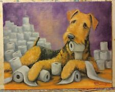 OriginAl Oil Painting~Airedale Terrier~Dog~Toilet Paper~Whimsical~2020~art