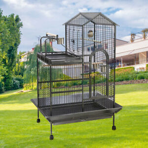 160CM Tall Large Parrot Bird Cage Wheels Metal Cockatiel Canary Lovebird Playtop