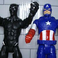 "2014 Hasbro Marvel Action Figure Lot Captain America 12""& 2017 Black Panther"