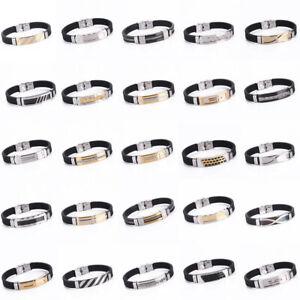 Fashion Mens Women Stainless Steel Rubber Bracelet Bangle Wristband Cuff Jewelry