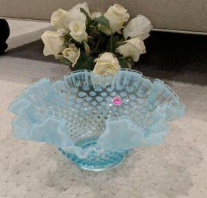 RARE Vintage FENTON blue Opalescent Hobnail Ruffled Crimped Glass Bowl/Vase