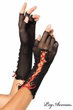 Leg Avenue fingerlose Damen Netzhandschuhe mit Corsagenschnürung