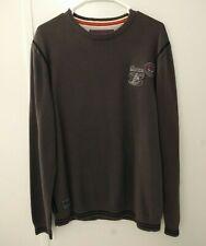 Esprit Mens Crew Neck Long Sleeve Pullover Sweatshirt Size XL Gray Patch