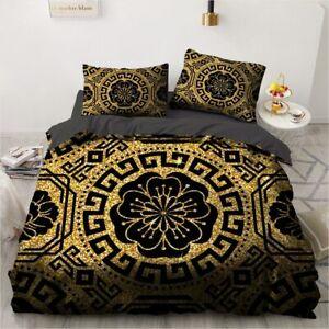 3D Black Design Comforter Case Duvet Cover Bedding Set Pillowcase Home Textile