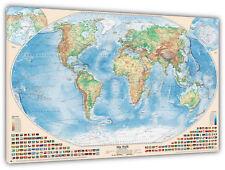 Physische Weltkarte, 150x100 cm, deutsch, Leinwand-Druck
