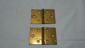 """Antique set of 2 3"""" x 2"""" slight offset strap brass cabinet furniture door Hinges"""