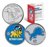 DETROIT LIONS * Retro & Team Logo * Michigan Quarters 2-Coin US Set NFL LICENSED