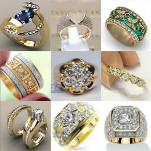 Fashion 18k Yellow Gold Plated Jewelry Women Cubic Zirconia Party Rings Size6-10