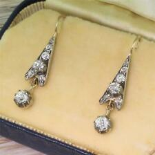 Vittoriano Vecchio Cut & ROSE Taglio Diamante Orecchini Pendenti - 18k e Argento-C 1870