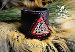 Viking Leather Valknut Bracelet or Wrist Cuff - Adjustable Size Black & Red