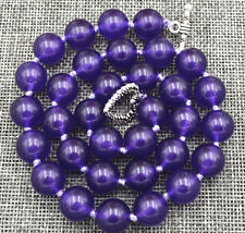 """HOT Beautiful 12MM Amethyst Bead and Natural Amethyst Necklace 18 """"AAA"""