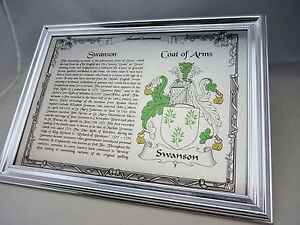 YOUR FAMILY NAME + COAT OF ARMS on BRUSHED SILVER METAL with SURROUND FRAME