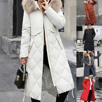 Winter Women Long Down Coat Cotton Parka Warm Fur Collar Hooded Quilted Coats
