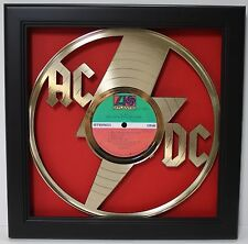 AC/DC Framed Laser Cut Gold Plated Vinyl Record in Shadowbox Wallart