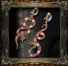 Boucles d'Oreilles CLIP Plaqué Or Rouge Gris Serpent Email Longue Pendante QD3