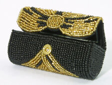 Lipstick Case, Gold & Black Beaded Holder w/ snap top and inside mirror