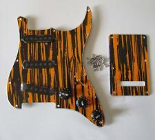 Strat Pickguard Set Black/Yellow Wicker w/ Black Pickup Covers,Knobs,Switch Tip