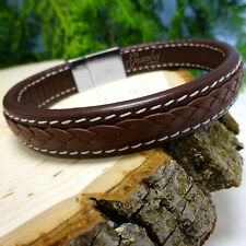 Genuine Brown Leather Braided Double Stitched Bracelet