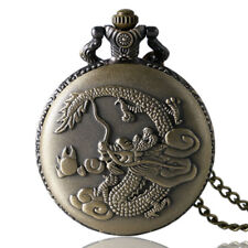Retro Chinese Dragon Design Unisex Quartz Pocket Watch Necklace Pendant Chain