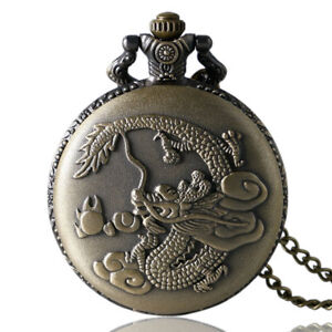 Retro Chinese Dragon Design Unisex Quartz Pocket Watch Necklace Pendant Chain
