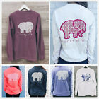 New Elephant Print ivory ella Women's classic soft tee Long Sleeve Tops T-shirts