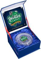 2019 Winter Classic Bruins vs Blackhawks Crystal Puck - Filled w/ Ice From Game