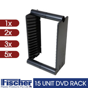 15 UNIT DVD RACK / STAND Mounted Audio Cabinets On The Wall FISCHER PLASTIC
