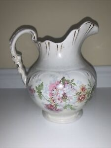 "Antique Etruria Mellor Victorian Pitcher Floral design w/Gold Trim 7 1/4"" Tall"