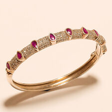 Handamde Sterling Silver Bangle Bracelet Burmese Ruby Gems Fine Women Jewelry Aa