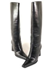 Prada Womens 5 M Tall Black Leather Riding Style Heel Boots Pull On Pointed Toe
