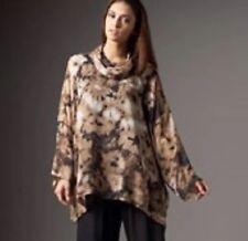 FAB! Eskandar ART TO WEAR  FLORAL Silk Monk Cowl Neck WIDE Tunic Top Blouse SZ 0