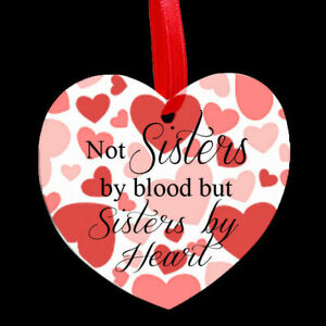 Beautiful Heart Shaped Metal Hanging Plaque Love Family Sister Friends Cousins