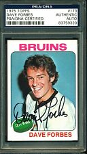 1975 TOPPS HOCKEY 173 DAVE FORBES BOSTON BRUINS AUTOGRAPH AUTO PSA DNA CERTIFIED