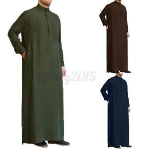 Men Muslim Clothing Islamic Kaftan Arab Saudi Long Sleeve Jubba Abaya Thobe Robe