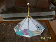 Keeling Pendant Chandelier Fixture Hibiscus Iridesecent Stain Glass 6 Candle