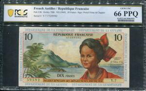French Antilles 1964, 10 Francs, P8b, PCGS 66 PPQ GEM UNC