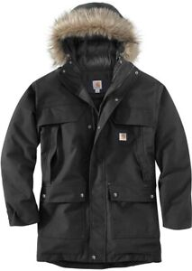 Men\u2019s Carhartt Vintage 00s Retro Black Logo Cotton Jacket Coat Size XL