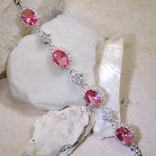 "25CT Pink Sapphire & White Topaz Victorian Style Silver Bracelet 7"" GBR224"