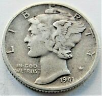 1941 D UNITED STATES, Mercury Dime grading About VERY FINE.