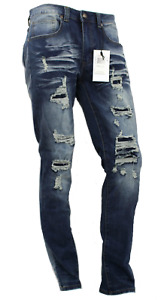 Men Stretch Skinny Jeans Ripped Denim Pants BP0619 Distressed Skinny Fit 4 Color
