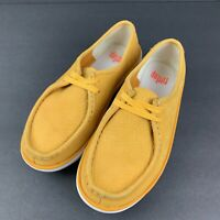 Fitflop Mocassin Shoe Womens 5 Mustard Yellow Suede Lace Up Comfort 36