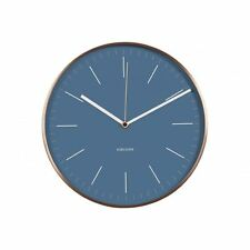 Karlsson Minimal Orologio Da Parete Blu Faccia Rame Custodia Design Silenzioso