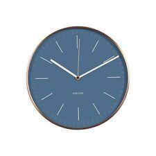 Karlsson Minimal Horloge Murale Bleu Façade Cuivre Étui Designer Silencieux