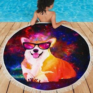 "Funny Pembroke Welsh Corgi Round Beach Gift For Dog Soft Round Beach Towel 59"""
