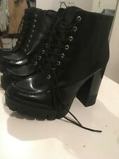 Zara Lace-UP High Heel Ankle Boots With Track Sole Size 39,41