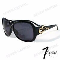 Womens Rhinestone Oversized Black Bifocal Reading Reader Power Lens Sunglasses