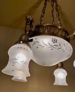 Vintage Lighting 1915 brass chandelier wheel cut shades. Rewired!