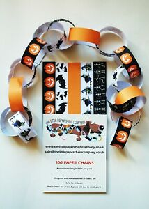 100 Halloween paperchains/decoration - skeletons,witches,pumpkins