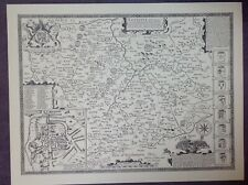 LEICESTERSHIRE County Map in 1610 by John Speed - Uncoloured